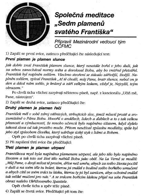 Společná meditace - 7 plamenů sv. Františka